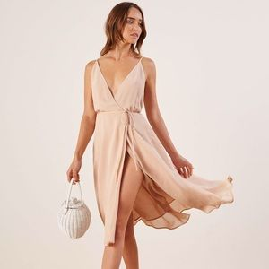 NWT REFORMATION Champagne Tropic Dress V neck